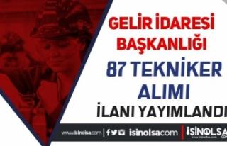 Gelir İdaresi ( GİB ) 46 Şehirde 87 Tekniker Alımı...