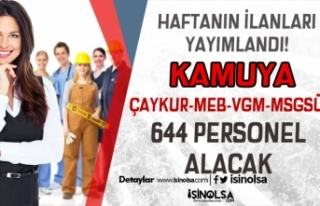 Haftanın Kamu İŞKUR İlanları: ÇAYKUR-MEB-VGM-MSGSÜ...