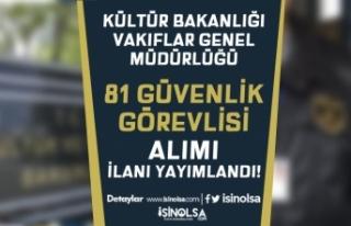 Kültür Bakanlığı VGM Kadın Erkek 81 Güvenlik...