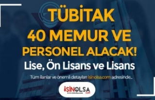 Lise, Ön Lisans ve Lisans: TÜBİTAK 40 Personel...