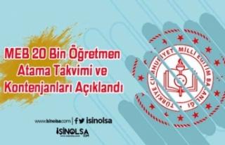MEB 20 Bin Öğretmen Atama Takvimi ve Kontenjanları...