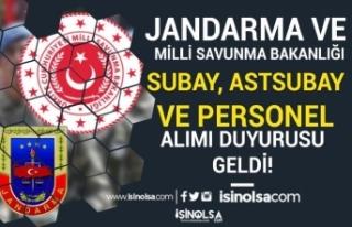 MSB ile Jandarma Subay, Astsubay ve Personel Alımı...