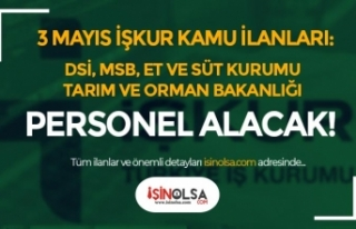 3 Mayıs İŞKUR Kamu İş İlanları: DSİ, MSB,...