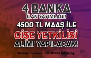 4 Banka 4500 TL Maaş İle Banka Gişe Yetkilisi (...