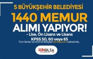 5 Büyükşehir Belediyesi 1440 Memur Alımı Yapıyor!...