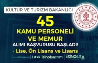 Kültür Bakanlığı 45 Kamu Personeli ve Memur Alımı...