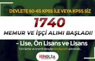 Devlete 60- 65 KPSS İle veya KPSS siz 1740 İşçi...