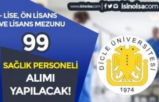 Dicle Üniversitesi 99 Sağlık Personeli Alım İlanı...