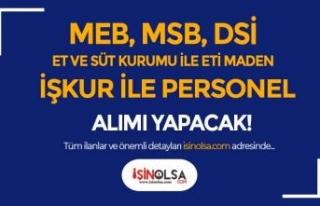 DSİ, MSB, MEB, Eti Maden ile Et ve Süt Kurumu İŞKUR...