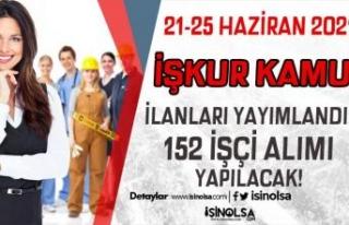 İŞKUR 21-25 Haziran Kamuya 152 İşçi Alımı İlanları...