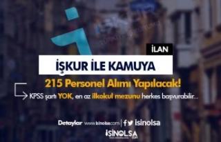 İŞKUR ile Kamuya 215 Personel Alımı Güncel İlanları...