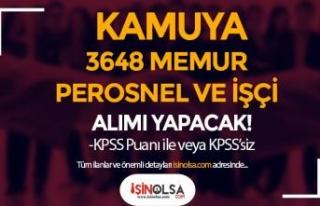 Kamuya KPSS'li KPSS 'siz 3648 Kamu Personeli...