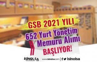 GSB 2021 Yılı 652 Yurt Yönetim Memuru Alımı İlanı...