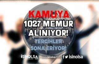 Kamuya 1027 Memur Alımı ( KPSS 2021/1 ) Tercihleri...