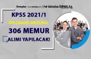 KPSS 2021/1 İle Ön Lisans Mezunu 306 Memur Alımı...