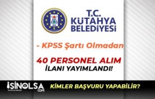 Kütahya Belediyesi Okur Yazar 40 İşçi Personel...