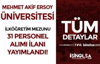 Mehmet Akif Ersoy Üniversitesi 31 Personel Alımı...