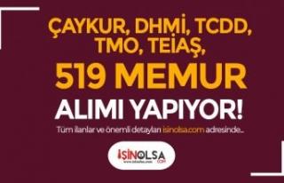 TCDD, DHMİ, TEİAŞ, TMO, ÇAYKUR 519 Memur Alımı...