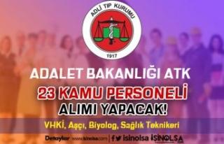 Adalet Bakanlığı ATK 23 Kamu Personeli Alımı...