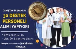 Danıştay 60 KPSS İle 30 Destek Personeli Alıyor...