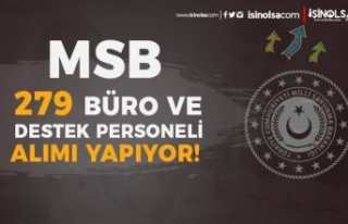 MSB Personel Alımı: En Az Lise 279 Destek ve Büro...