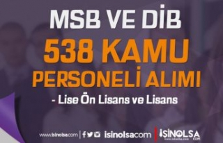 MSB ve DİB 538 Kamu Personeli Alımı - Lise, Ön...