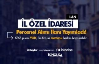 Sinop İl Özel İdaresi 15 Personel Alımı ( Operatör...