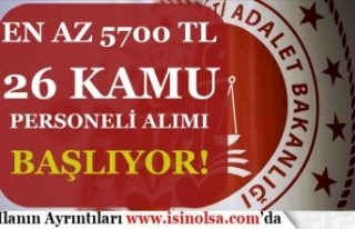 Adalet Bakanlığı En az 5700 TL Maaş İle Kamu...