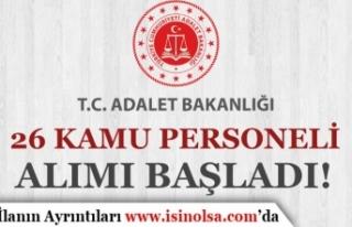 Adalet Bakanlığı Eylül Ayı 26 Kamu Personeli...