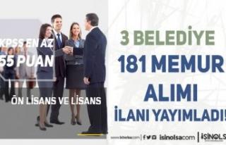 Bugün 3 Belediye 181 Memur Alımı İlanı Yayımlandı