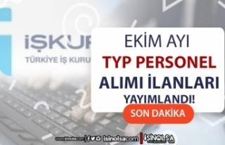Ekim Ayı İŞKUR TYP Personel Alımları Devam Ediyor!...