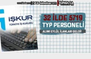 Eylül Ayı Yeni İŞKUR TYP Personel İlanları:...