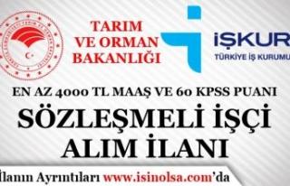 Tarım Bakanlığı En Az 4000 TL Maaş ve 60 KPSS...