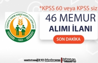Tarım Kredi KPSS 60 veya KPSS siz 46 Memur Alımı...