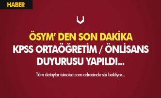 ÖSYM' den Son Dakika KPSS Ortaöğretim ve Önlisans Duyurusu Geldi!