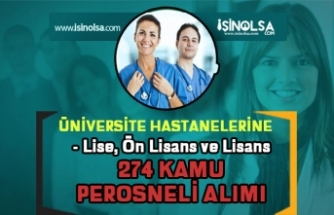 Üniversite Hastanelerine 274 Kamu Personeli Alımı! Lise, Ön Lisans ve Lisans
