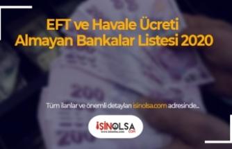 EFT ve Havale Ücreti Almayan Bankalar Listesi 2020