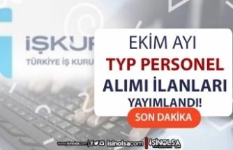 Ekim Ayı İŞKUR TYP Personel Alımları Devam Ediyor! 3 İlde 170 Personel Alınacak