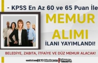 60 ve 65 KPSS İle Düz Memur, Zabıta ve İtfaiye Eri Alımı İlanı ( Tefenni Belediyesi)