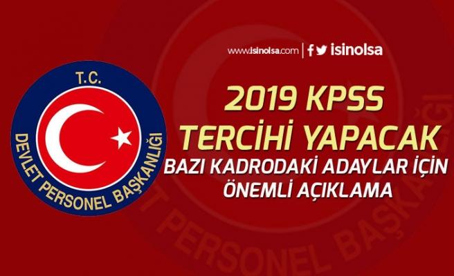 DPB 2019 KPSS Tercihinde Bulunacak Bazı Branşlardaki Adaylar İçin Duyuru Yayımladı