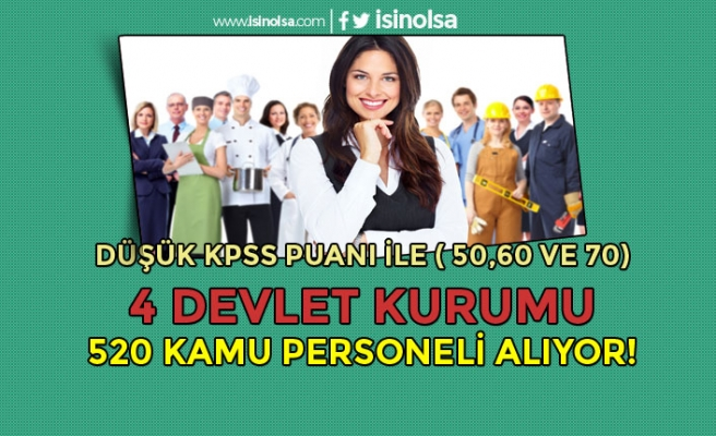 Düşük KPSS Puanı İle ( 50, 60 ve 70 ) 4 Devlet Kurumu Kamu Personeli Alıyor!