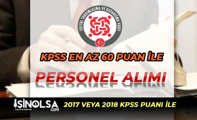 KPSS 60 Puan İle Personel Alımı: Niğde Altunhisar SYDV