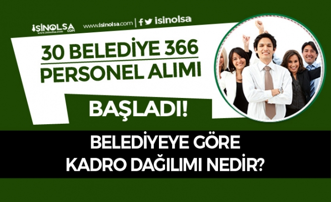 30 Belediye 336 Personel Alımı Başladı! Belediyeye Göre Kadro Dağılımı