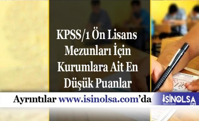 KPSS/1 Ön Lisans Mezunları İçin Kurumlara Ait En Düşük Puanlar