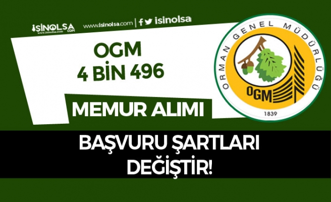 OGM 4 Bin 996 Memur Personel Alım İlanı Güncellendi! Bazı Şartlar Değiştirildi!