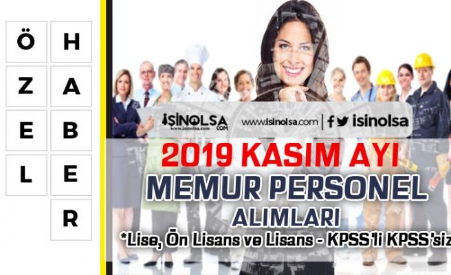 2019 Kasım Ayı Memur Personel Alımları