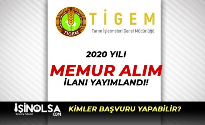 Tarım İşletmeleri Genel Müdürlüğü (TİGEM) Memur Alımı 2020