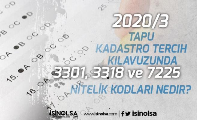 2020/3 Tapu Kadastro Tercih Kılavuzunda 3301, 3318 ve 7225 Nitelik Kodları Nedir?
