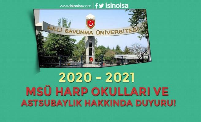 2020 - 2021 MSÜ Harp Okulları ve Astsubay Alımları Hakkında Duyuru