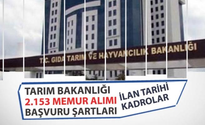 Tarım Bakanlığı 2153 Memur Alımı Başvuru Şartı, İlan Tarihi, Kadrolar!